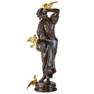 Fine Quality Large Patinated Bronze Sculpture of a Young Female with Doves by Emile Peynot