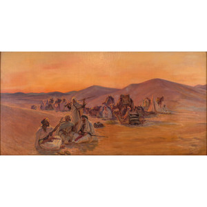 Fine Painting of a Bedouin Camp by Otto Pilny