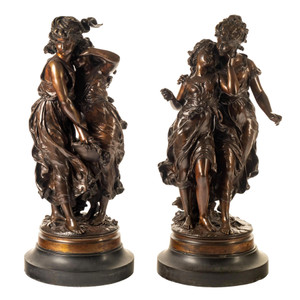 Fine Quality Pair of Patinated Bronze Sculptures by Hippolyte Moreau