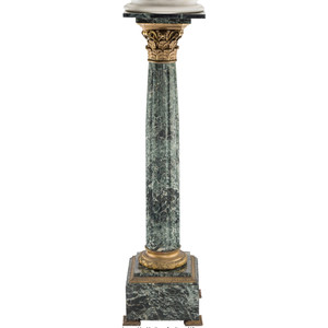 Fine Quality Corinthian Column Form Gilt Bronze Mounted Green Marble Pedestal