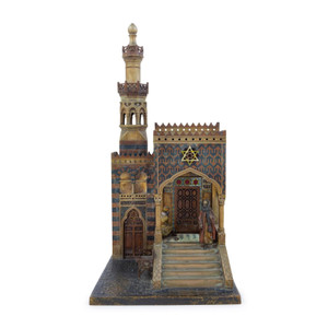 A Fine Cold Painted Bronze Table Lamp and Sculpture of a Mosque by Anton Chotka