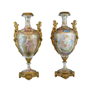 Fine Quality Pair of Bronze Mounted Sèvres-Style Polychrome and Gilt Porcelain Vase