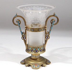 Fine Gilt bronze Champleve Two handle  Glass vase  French circa 1890