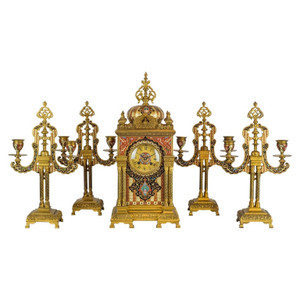 An Exceptional Quality Bronze Mounted Champlevé Enamel Clockset In Morish Style