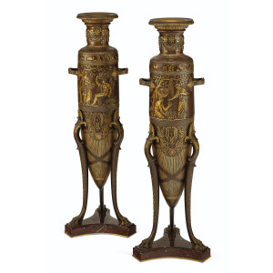 A Fine Pair of Parcel-Gilt and Patinated Bronze Neo-Grec Bronze Barbedienne Vases