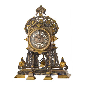 Important German Gilt and silvered Bronze  Mantel Clock