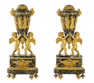 Pair of Louis XVI Style Gilt-Bronze and Green Marble URNS