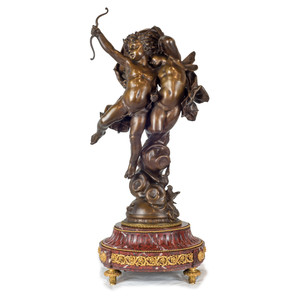 Magnificent Patinated Bronze Sculpture of Cupid and Psyche by Bouguereau