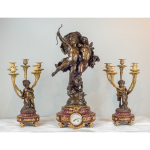 Magnificent Patinated Bronze Sculpture of Cupid and Psyche Clockset by Bouguereau