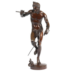 A fine dark brown patinated bronze sculpture by Charles-Arthur Bourgeois