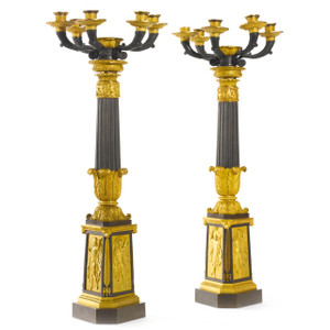 A fine pair of 19th century ormolu and patinated bronze five-light candelabra lamps