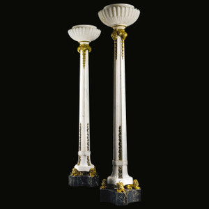 A monumental pair of gilt-bronze mounted marble and alabaster floor lamps by Sterling Bronze & Co. New York