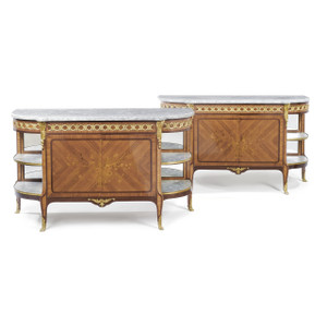A fine pair of Louis XV/XVI Transitional Style Ormolu-Mounted Tulipwood,  Amaranth and Marquetry Consoles Dessertes