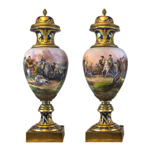 A pair of Hand Painted Monumental Ormolu-mounted Sèvres Porcelain Cobalt-Blue Napoleonic Vases and Covers by H. Desprez