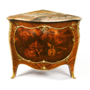 Gilt Bronze Mounted Kingwood and Vernis Martin Decorated Encoignure by François Linke