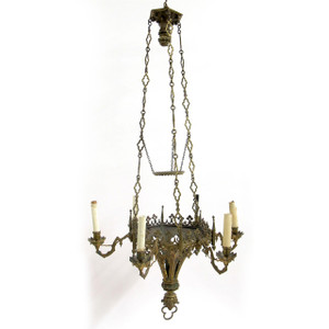 A fabulous Gothic revival gilt bronze six light chandelier