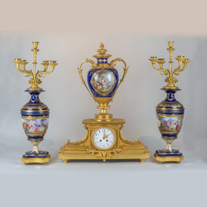 Gilt bronze painted jeweled Sèvres Porcelain Clock Set