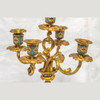 French Champleve gilt bronze and light blue champleve enamel clock set