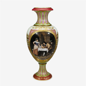 An exquisite hand painted Vienna porcelain vase in Baluster form