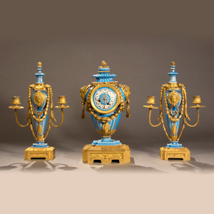 A Fine English Minton gilt bronze and light blue, hand painted jeweled porcelain garniture set.