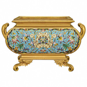 A very fine French Gilt-Bronze and Cloisonne Enamel bombe form Jardiniere with upright scrolled handles on scrolled feet