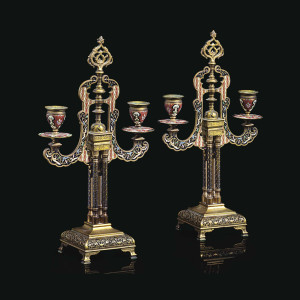 A fine pair of French Ormolu and Champleve Enamel twin-light candelabras