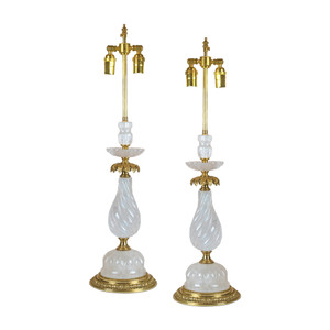A fine pair of gilt bronze and rock crystal pearl shape table lamps