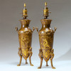 Pair of Painted Bronze Lamps