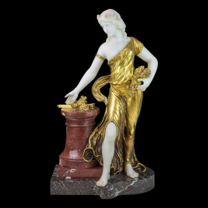 Exquisite Bronze and Marble Figure of a Woman with Flowers by H. Fugère