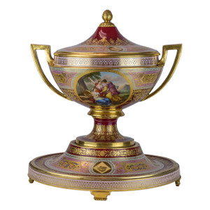 A Fine Royal Vienna Ruby Red and Pink Porcelain Covered Centerpiece and Stand