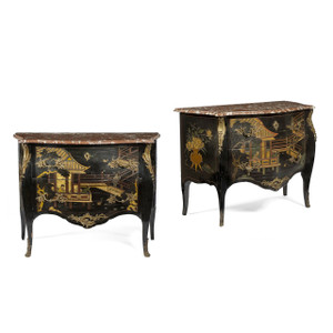 Pair of Louis XV Style Marble-Top Coromandel Black Lacquer Commodes Decorated in a Figural Asian Scene