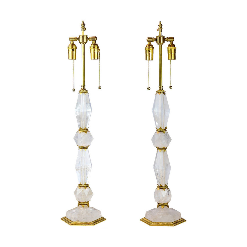 Gilt Bronze and Rock Crystal Table Lamps