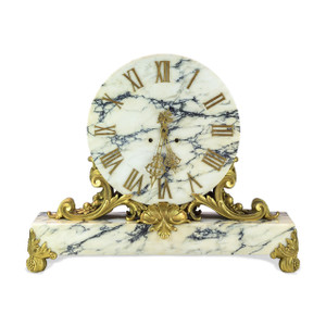 E.F. Caldwell & Co. Ormolu Mounted Marble Mantel Clock