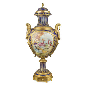 A Monumental Gilt-Bronze Mounted Sevres-Style Porcelain Vase and Cover
