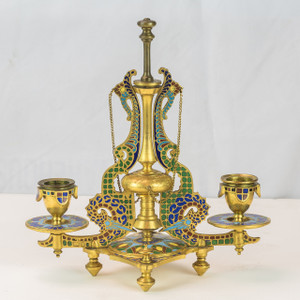 19th century French Champlevé candle holder
