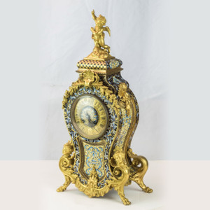 French Champlevé and Ormolu Figural Mantle Clock Retailed by Theodore B. Starr & Co. New York
