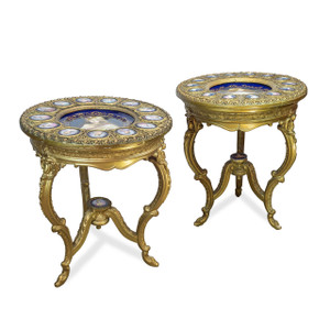 Exceptional Rare Pair of Austrian Royal Vienna Three-Legged Gilt Wood and Porcelain Parlor Table