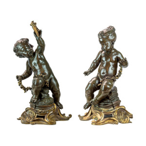 A Monumental Pair of Gilt and Patinated Bronze Cupid Figural Sculptures by H Nelson