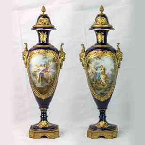 A Very Fine Pair of Sevres Ormolu-Mounted Gilt Bronze Cobalt Blue Vases