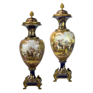 A Very Fine Pair of Sevres Style Ormolu-Mounted Cobalt Blue Ground Porcelain Vases