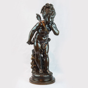 A 19th Century Patinated Bronze Sculpture of Cupid with an Apple by Paul Duboy