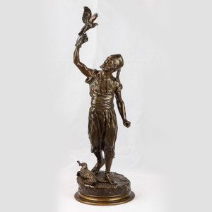 A Fine Patinated Bronze Figure of a Berber and a Hunting Falcon by Pierre Jules Mêne