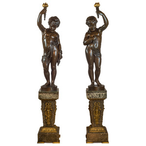 A Fine Pair of Monumental Patinated Bronze Figural Torchères on Pedestal