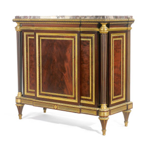 A Fine Louis XVI Gilt Ormolu-Mounted Mahogany Marble Top Commode by G.DURAND