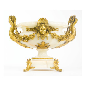 A Fine Louis XVI Gilt Bronze Mounted Onyx Centerpiece