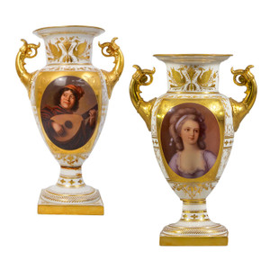 A Fine Pair of Distinguished Vienna-Style Porcelain Finely Painted Vase with Two Handles