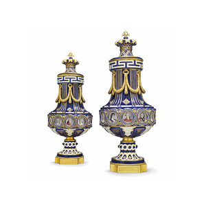 A Fine Pair of Sèvres Jeweled Cobalt-Blue Ground and Ormolu-mounted Porcelain Vases