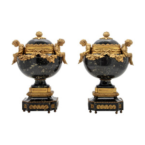 A Fine Pair of Gilt Bronze and Marble Urns