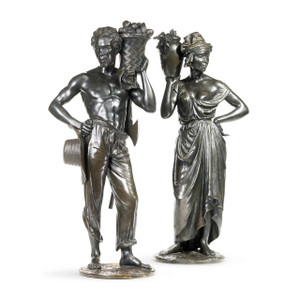 A fine pair of patinated bronze Sculptures of native Antilliais