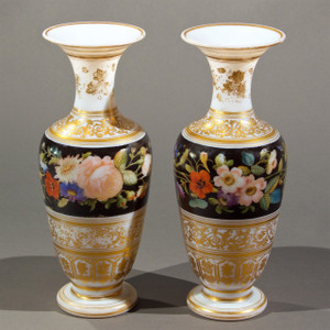 A Pair of French Baccarat Opaline Glass Vases